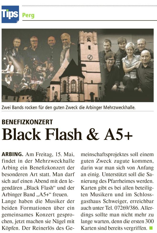 Zwei Bands rocken für den guten Zweck die Arbinger Mehrzweckhalle. Black Flash und A5+