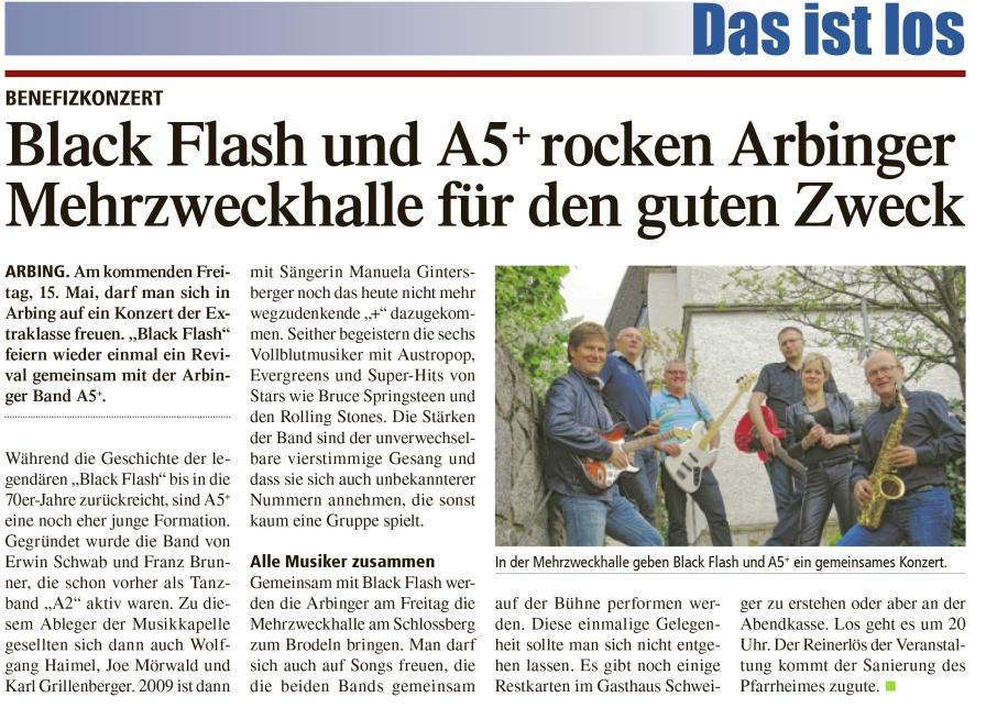 In der Mehrzweckhalle Arbing geben Black Flash und A5+ ein gemeinsames Konzert
